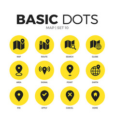 map flat icons set vector image