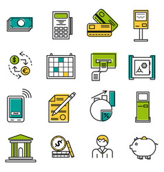 set of colored finance icons vector image vector image