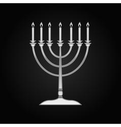 Silver Hanukkah menorah icon on black background vector image