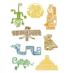 Aztec and maya ornamental symbols vector image