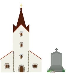 Church and gravestone vector image