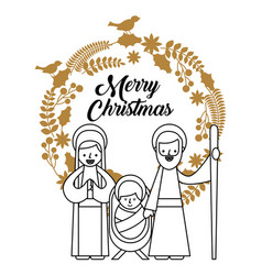 Merry christmas holy family traditional religious vector