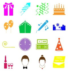 New year colorful icons on white background vector image vector image