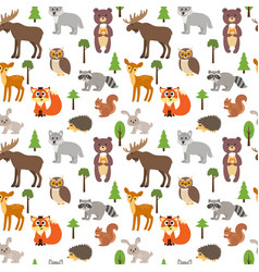 seamless pattern with cute forest animals and vector image