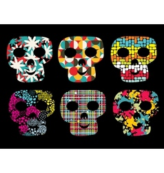 Set of cute skulls vector image vector image