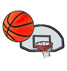 Basketball flies into ring vector