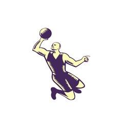 Basketball Player Dunk Ball Woodcut vector image