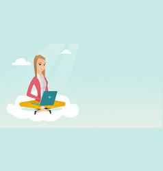 caucasian woman using cloud computing technologies vector image vector image