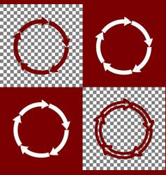 circular arrows sign bordo and white vector image