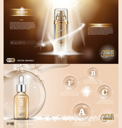 digital golden glass bottle spray vector image