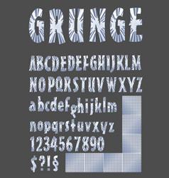 grunge alphabet in metallic design upper case vector image