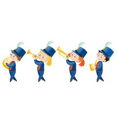 kids in school band wearing blue uniform vector image