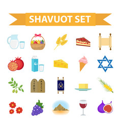 shavuot icons set flat style collection design vector image vector image