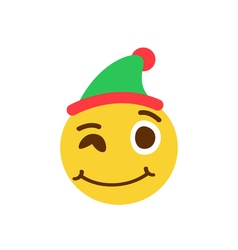 Winking smiley in a cap vector image