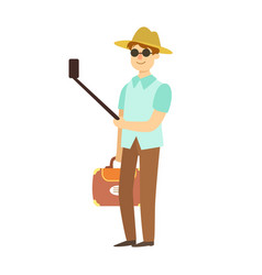 young man with suitcase taking photos with vector image vector image