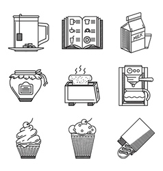 Breakfast black line icons vector image vector image