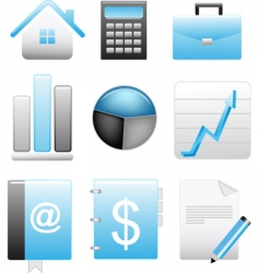 business blue icons set vector image vector image