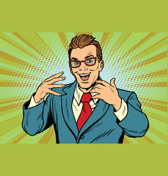 Gesticulating joyful businessman with glasses vector