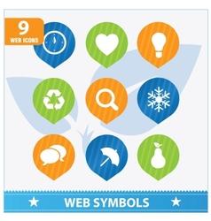 Internet web flat symbols set vector image vector image