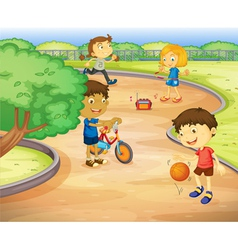 Kids at playground vector