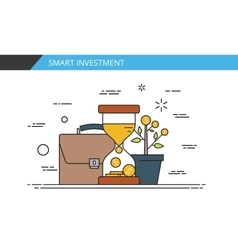 Smart investment Time is money Thin line flat vector image
