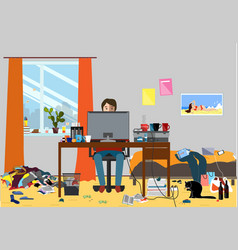 A disorganized room littered with pieces of trash vector