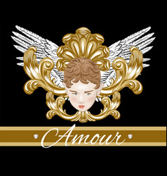 amour hand drawn cupid with wings vector image