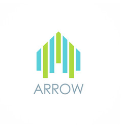 arrow up building logo vector image