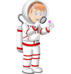 Astronaut woman in white red suit uniform vector