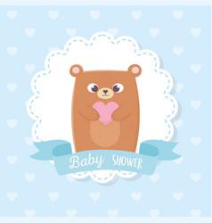 bashower cute teddy bear with heart ribbon vector image