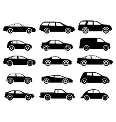 Black auto icon set on white vector
