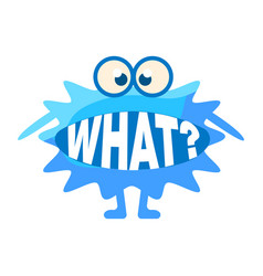 Blue blob asking what cute emoji character vector