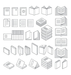 Book line icons set vector image