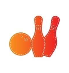 Bowling sign Orange applique vector image