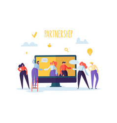 Business partnership online meeting concept vector