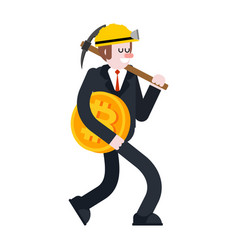businessman and bitcoin miner and pick guy vector image