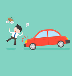 Businessman hit by a car accident and insurance vector