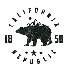 california grunge print with bear and mountains vector image