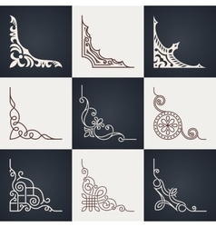 Calligraphic design elements Vintage corners set vector