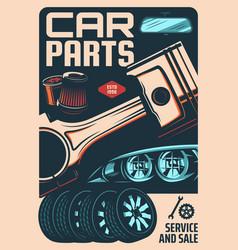 Car spare parts store repair shop retro banner vector