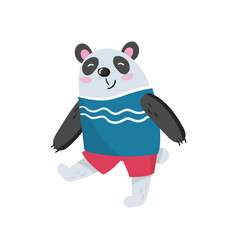 Cartoon panda character walking with smiling vector