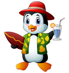 Cartoon penguin with cocktail drink and surfboard vector