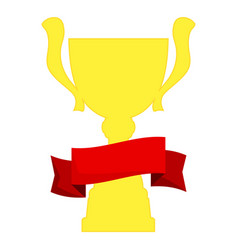 champion cup in gold with red ribbon vector image
