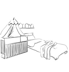 Children room furniture sketch baby bed vector