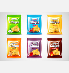 Chips package design photo realistic set vector