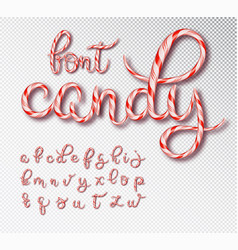 christmas candy cane lettering font set with vector image