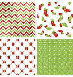 christmas seamless patterns chevron stockings vector image