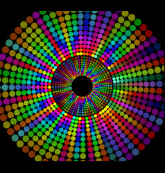 Circle shape composed of rainbow dots on black vector