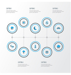 Climate colorful icons set collection of arc vector