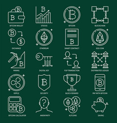crypto currency icon collection in line style vector image